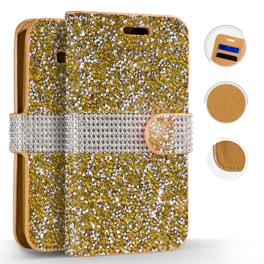 IPHONE 7 PLUS GOLD DIAMOND WALLET
